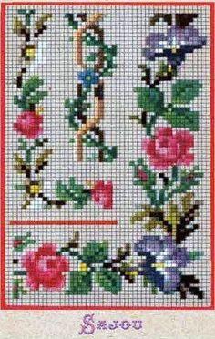 various floral border cross stitch Mini Cross Stitch, Cross Stitch Rose, Beaded Cross Stitch, Cross Stitch Borders, Cross Stitch Charts, Cross Stitch Designs, Cross Stitching, Cross Stitch Embroidery, Cross Stitch Patterns