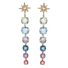 These earrings feature brilliantly faceted gems in an array of colors, dangling from white topaz-encrusted starburst posts.