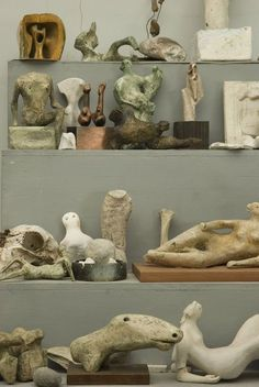 Some of Henry Moore's maquettes.