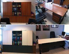 Riqualificazione ufficio: armadio e scrivania con pellicola adesiva.  Prodotto utilizzato: 3M™ DI-NOC™ Wrapping, Conference Room, Table, Furniture, Home Decor, Decoration Home, Room Decor, Tables, Home Furnishings