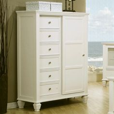 This Sandy Beach master bedroom collection is crafted to perfection with clean, straight lines and inset frame detail, carved legs and molded edging. The unique door chest is constructed of select hardwood solids and veneers and finished in bright white. Easily tuck away clothes and other items b...