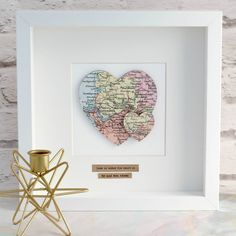 International Map, Heart Location, Shadow Frame, Heart Map, Map Pictures, Wooden Shapes, Us Map, Vintage Maps, Box Frames