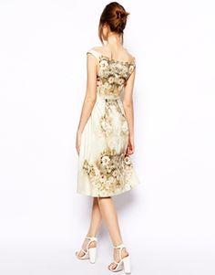 Image 2 ofASOS Vintage Floral Midi Bardot Dress