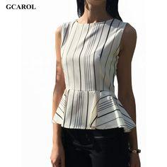 GCAROL Women New Arrival  Peplum Striped Blouse Elegant Sleeveless Blouse Summer Spring OL Tops For Ladies