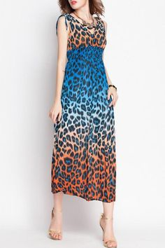 188058b29ea994 Bohemian V-Neck Leopard Print Sleeveless Lace-Up Dress For Women from 19.30