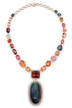 Irene Neuwirth | Jewelry--ONE OF A KIND NECKLACE WITH TOURMALINE, AQUAMARINE, LABRADORITE, FULL CUT DIAMONDS AND DIAMOND PAVE