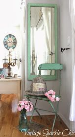 Vintage Sparkle Chic: Shabby Green Bistro Chair and Mirror