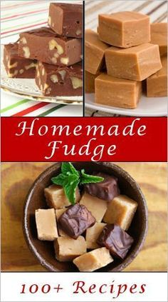 100+ Homemade Fudge Recipes: Flavors that looked good to me:  Rose, Maple with Walnut, Pumpkin Pie, Bailey's Rocky Road, Salted Cinnamon-Chocolate, Peppermint Mocha, Vanilla-Macadamia Nut, Piña Colada, Creamy Lemon, Rose Petal & Coconut, Butter Pecan...