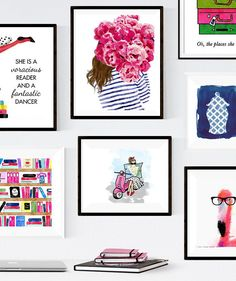 Kate Spade Inspired Gallery Wall — Colorful, preppy, fun, and, most importantly… – Office İnspiration Canvas Art Prints, Wall Prints, Grey Interior Doors, Contemporary Abstract Art, Wall Art For Sale, American Indian Art, Affordable Home Decor, Office Decor, Office Ideas