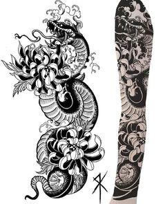 Half Sleeve Tattoos Forearm, Dragon Sleeve Tattoos, Full Sleeve Tattoos, Leg Tattoos, Body Art Tattoos, Arm Tattoos Snake, Tattoo Ink, Black Tattoos, Japanese Snake Tattoo
