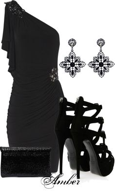 """""""Black Drape Sleeve Dress"""" by stay-at-home-mom on Polyvore"""