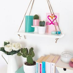 21 DIY Hanging Shelves   Tables That Will Save You Major Floor Space