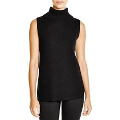 FRENCH CONNECTION Abel Ribbed Turtleneck Sweater ($98) ❤ liked on Polyvore featuring tops, sweaters, black, black top, black sleeveless turtleneck, turtle neck sweater, side slit sweater and sleeveless tops