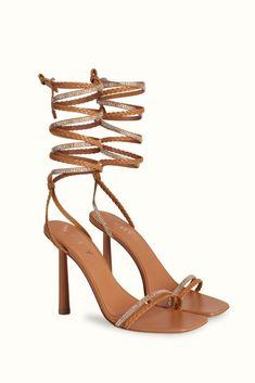 Amina Muaddi x Fenty The Braid Me Up sandal in Brown Sugar. #aminamuaddi #fenty #sandals #partyshoes