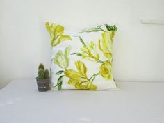 Yellow flower pillow cover 16 inch cushion by KimsHandmadeCave