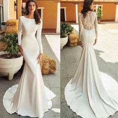 wedding dress silk they have the cutest clothes Plain Wedding Dress, Simple Wedding Gowns, Wedding Dress Trends, Princess Wedding Dresses, Wedding Dress Sleeves, Modest Wedding Dresses, Elegant Wedding Dress, Bridal Dresses, Simple Wedding Gown Minimalist