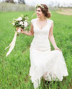 Lace wedding dress lauren fair photography blog theknot com