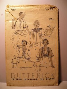 Butterick 7149 | 1930s Bed Jacket 4 styles