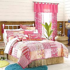 New Girls Luau Twin Quilt Aloha Island Coral Pink Patchwork Floral Tropical  Set | EBay