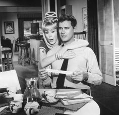 """Barbara Eden and Larry Hagman in character as """"Jeannie"""" and """"Captain/Major Anthony 'Tony' Nelson"""" from I Dream of Jeannie, 1965-70"""