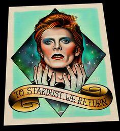 David Bowie Tattoo Flash Art Print by ParlorTattooPrints on Etsy https://www.etsy.com/listing/271427028/david-bowie-tattoo-flash-art-print