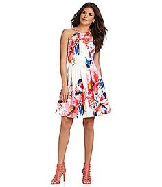 Vince Camuto Burst FloralPrint Halter FitandFlare Dress #Dillards