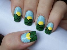 Sunny Days Nail Art. Head on over to my blog to check it out and see how to do them!