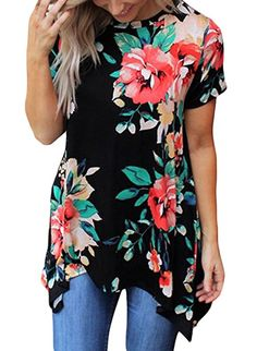 Dokotoo Womens Tops Ladies Casual Short Sleeve O Neck Summer Flower Floral  Print Asymmetrical Loose Flowy Tunic Blouse Tops and Shirts Black X-Large 717a510b2