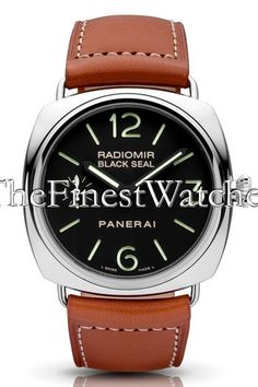 Panerai Historic Radiomir Black Seal Watch - PAM00183. Cushion-shaped polished stainless steel case (45mm diameter, 13mm thickness), high polished stainless steel bezel, brown calfskin strap, black dial with luminescent hands and Arabic numerals/index hour markers, 17 jewel Caliber OP XI manual-winding movement with 56 hour power reserve and COSC certification, small seconds dial at 9 o'clock, anti-glare sapphire crystal, water resistant to 100 meters.