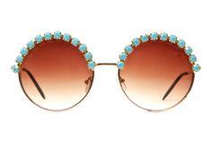 Angela Turquoise Rhinestone Large Round Half Studded Sunglasses (Turquoise/Gold). $38.00, via Etsy.