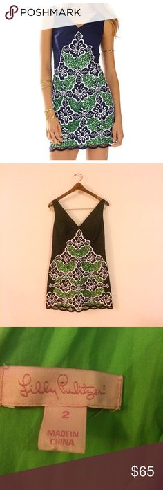"Lilly Pulitzer navy green dress small 2 Great condition, only worn once size 2. Measurements are taken laying flat; chest-16.5"", waist-15"", length-30"". Please feel free to ask any questions or make a reasonable offer 💕 Lilly Pulitzer Dresses Mini"
