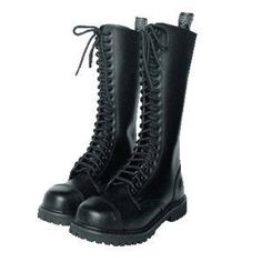 20 Hole Rangers Boots with Steel Toe Cap Black or Wine Red Lace Up Shoe