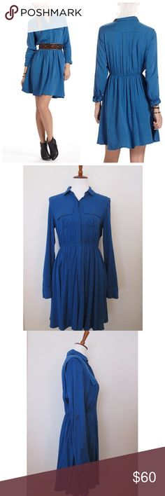 """Anthro Maeve Dakota shirt dress blue long sleeve This beautiful blue shirt dress is perfect over some tights and booties! Excellent condition and no flaws. Offers are warmly welcomed.   Measurements: Bust 36"""" Length 35"""" Anthropologie Dresses Long Sleeve"""