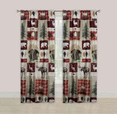 Beatrice Zion 84 Window Curtains Panel Pair Drapes Rustic Lodge Cabin Elk Deer and Bear Black Curtains, Window Curtains, Curtain Designs For Bedroom, Succulent Garden Diy Indoor, Custom Drapes, Patchwork Designs, House Windows, French Decor, Bed Design