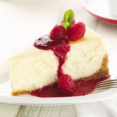 Cheesecake with Raspberry Sauce  The next holiday, when I need to feed an army, I will try this. Sounds wonderful!