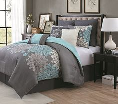 Geneva Home Fashion 9 Piece Amber Comforter Set Queen Aqua * Click on the image for additional details.