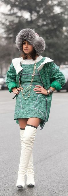 Mirslava Duma in Chanel Chanel Outfit, Chanel Dress, Chanel Street Style, Chanel Clothing, Runway Fashion, Women's Fashion, Mira Duma, Miroslava Duma, City Chic