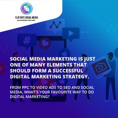 Social media marketing is just one of many elements that should form a successful digital marketing strategy. 🤘 From PPC to video ads to SEO and social media, what's your favourite way to do digital marketing? Get in touch with us to work on your social media strategy Visit flatratesocialmedia.com 😍