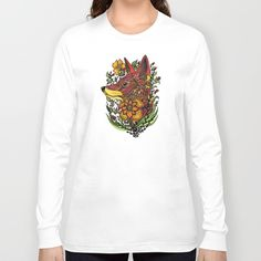 Red Fox Long Sleeve T-shirt by Salome | Society6