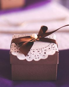 WeddingChannel Galleries: Brown Favor Box with Ribbon
