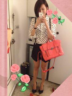 3.1 Philip Lim Medium Pashli bag, Zara skort, jcrew pullover shirt, Steven by Steve Madden bow pumps  #OOTD