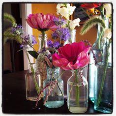 simple september flower arrangements | Bottle Arrangement1