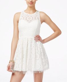 Crystal Doll Juniors  Crisscross Bow-Back Lace Fit   Flare Party Dress  Juniors - Dresses - Macy s be16c87dabb2