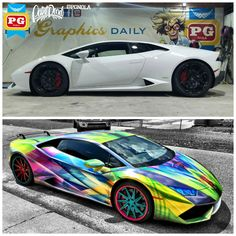 BEFORE & AFTER on our GoldRush Rally 7 Lamborghini Huracan. Custom designed…