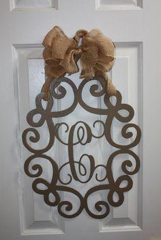 Custom Metal Monogram - Wall or Door Wreath Metal Projects, Welding Projects, Metal Crafts, Diy Projects, Plasma Cutter Art, Diy Cutting Board, Monogram Wall, Steel Art, Metal Artwork