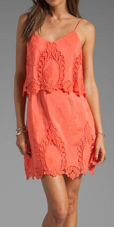 Coral lace dress via @Emily Schoenfeld Schoenfeld Schoenfeld Judd