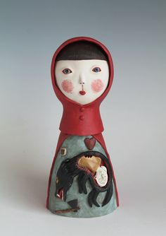 Red ridinghood Paper Clay Art, Origami, Sculptures, Ceramics, Red, Baby Dolls, Paper, Ceramica, Sculpture