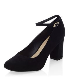 Wide Fit Black Comfort Ankle Strap Block Heels  | New Look