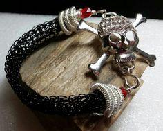 New, flat panel black viking knit bracelet with silver skull & crossbones