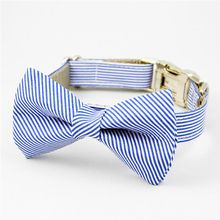 Blue and White Stripe Bow Tie Dog Collar